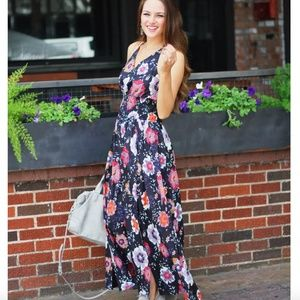Chicwish floral black maxi dress